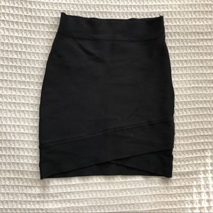 BCBG Max Azria Black criss cross hem skirt S
